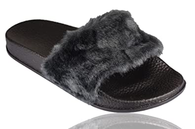 9c0b6101ec54 Womens Slip On Size Flat Farrah Rubber Slider Mules Fur Slipper Rihanna  Sandals 3-8