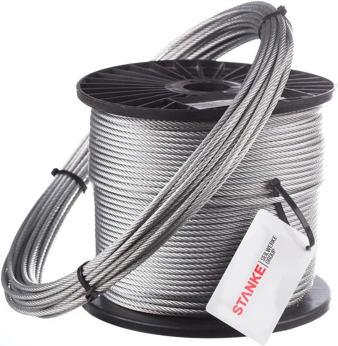 Seilwerk STANKE 1m Drahtseil 10mm 6x37 Forstseil Windenseil Stahlseil VERZINKT DIN Seil Draht Stahl
