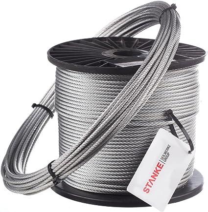 Seilwerk STANKE C/âble dAcier Galvanis/é DIN Corde Foresti/ère Corde de Levage C/âble de Treuil 6x7+FC 5 mm 80 m
