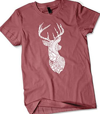 5b7d60020 Bigfoot Tactical Deer Hunting Womens Hunting Cute Loose Fit Shirt - Floral  Deer - Short Sleeve