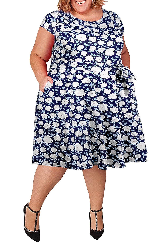 Nemidor Women\'s Cap-Sleeve Floral Print Retro Plus Size Swing Rockabilly  Dress