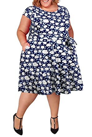 b6fd3db4d67 Nemidor Women s Cap-Sleeve 1950s Retro Rockabilly Plus Size Vintage Prom Swing  Dress (White