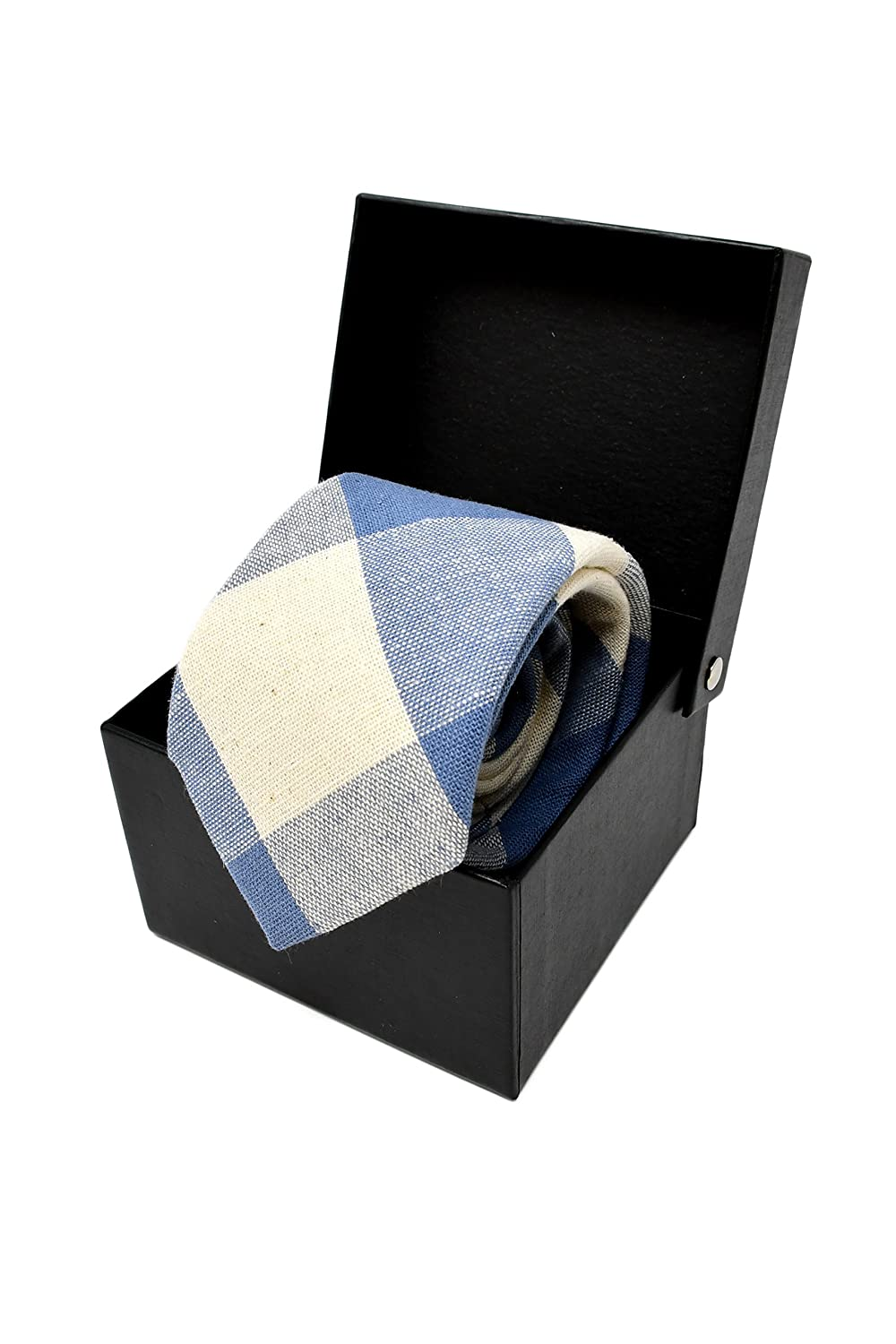 Elegante e Moderna - Oxford Collection Cravatta da uomo Azzurro a Quadri 100/% Lino ideale per un regalo, un matrimonio, con un abito, in ufficio. Classica