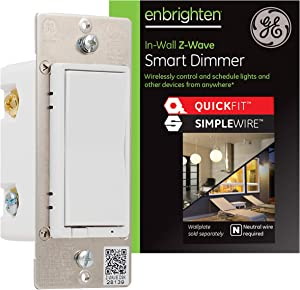 GE Enbrighten Z-Wave Plus Smart Light Dimmer with QuickFit and SimpleWire, 3-Way Ready, Works with Alexa, Google Assistant, ZWave Hub Required, Repeater/Range Extender, White, 47338