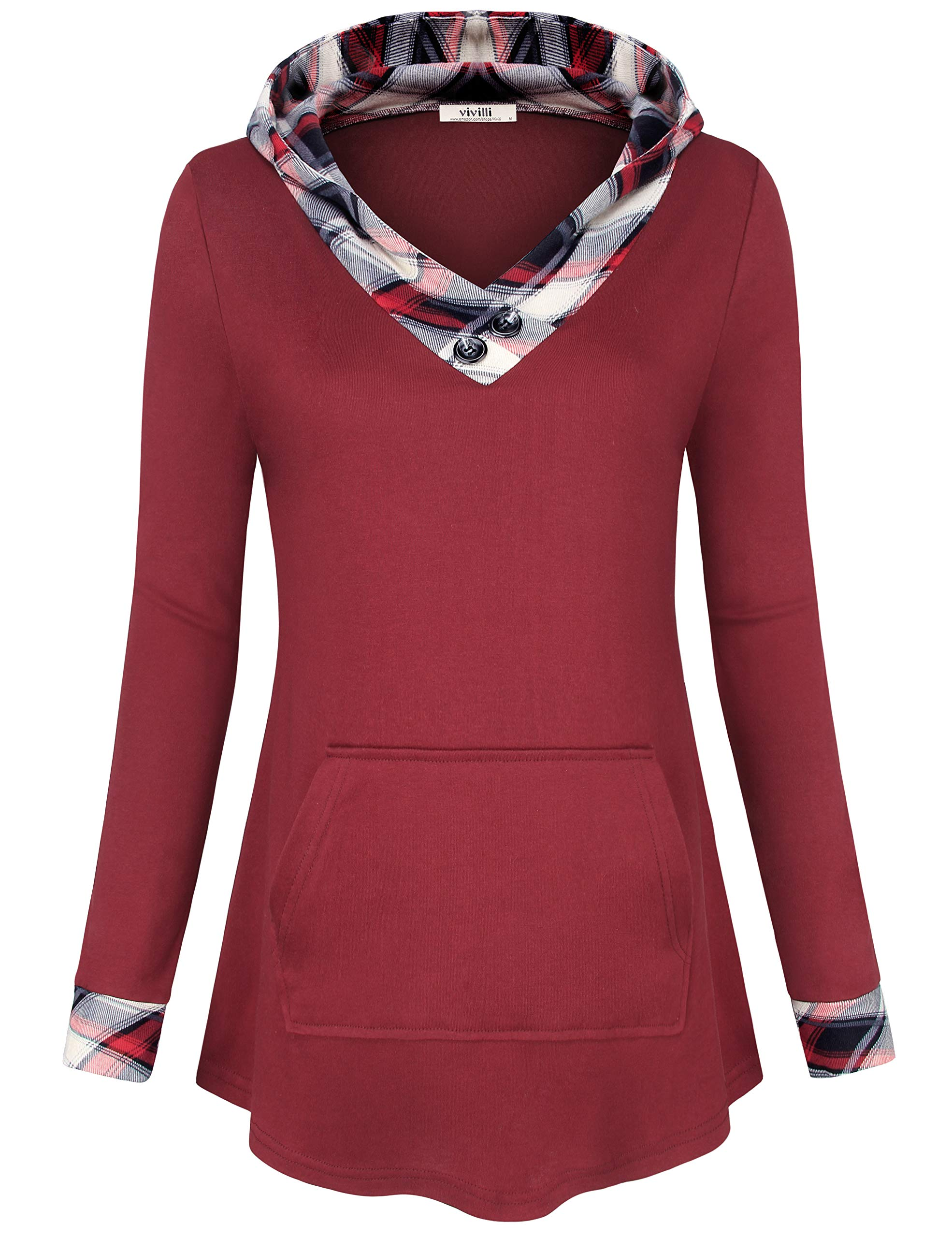 Vivilli Long Sleeve Sweatshirts, Women's 2018 Fashion Flowy Tunic Fit and Flare Shirts for Leggings Knitted Sweater L Wine