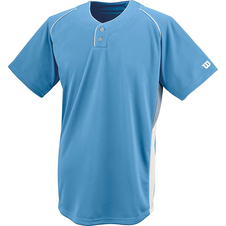 ウィルソンスポーツ用品ダブルバーメッシュ2ボタンジャージー B00E3FME9I M|ライトブルー ライトブルー M