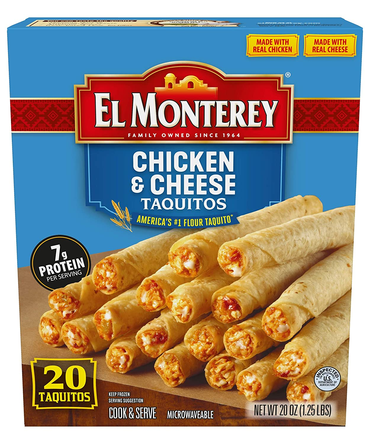 El Monterey Chicken and Cheese Flour Taquitos, 21 Pack