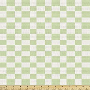 Ambesonne Geometric Fabric by The Yard, Big Squares Checked Pattern in Soft Colors Retro Monochrome Tile Print, Decorative Fabric for Upholstery and Home Accents, 1 Yard, Lime Green
