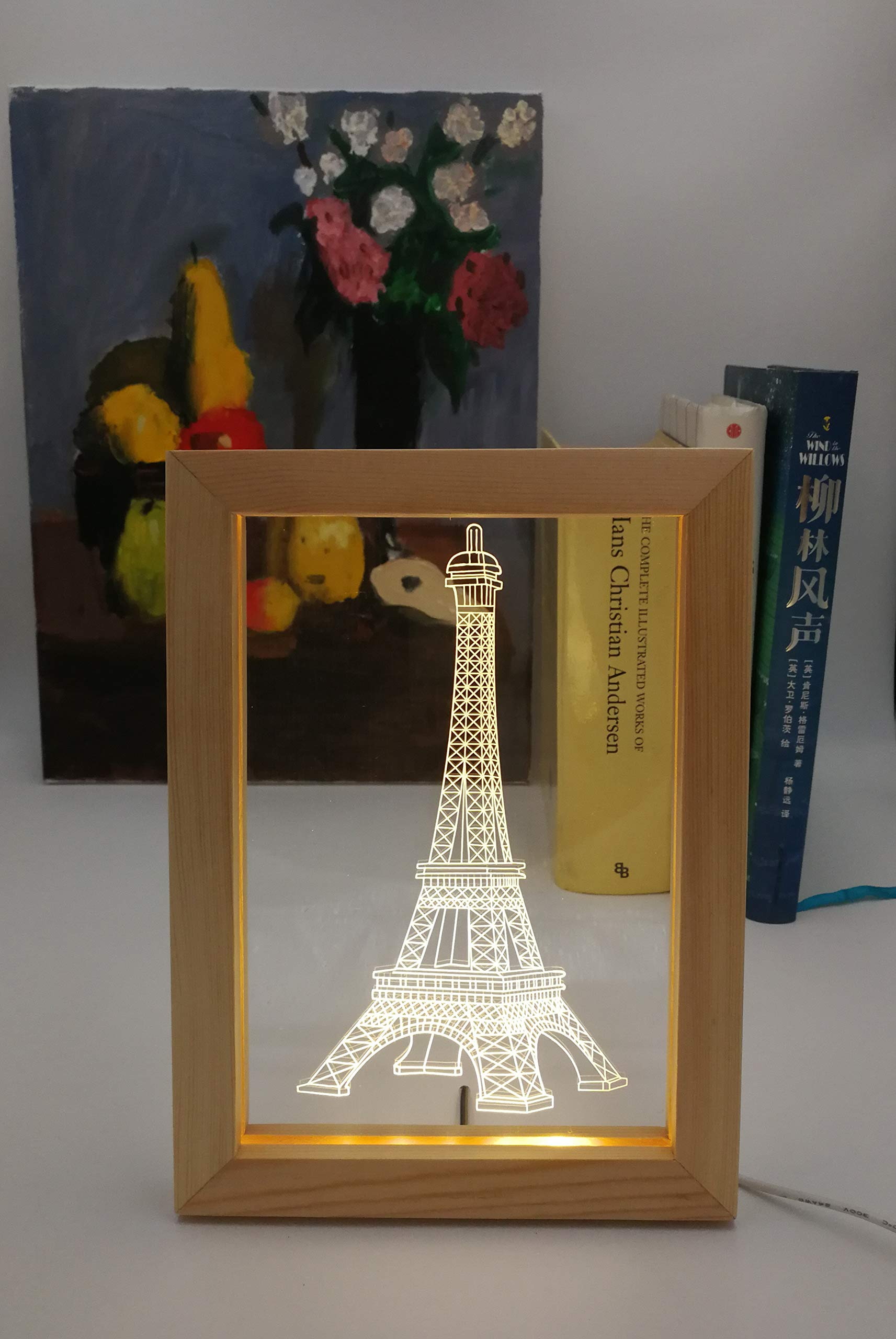 Kevmiya LED Picture Frame, 9X6.7X0.8in, Cool Soft Night Light and Cute Decor for Hall Lighting, Living Room, Bedroom, Kids Room, corridors Exhibition Halls, Hotel Lobby (Eiffel Tower)