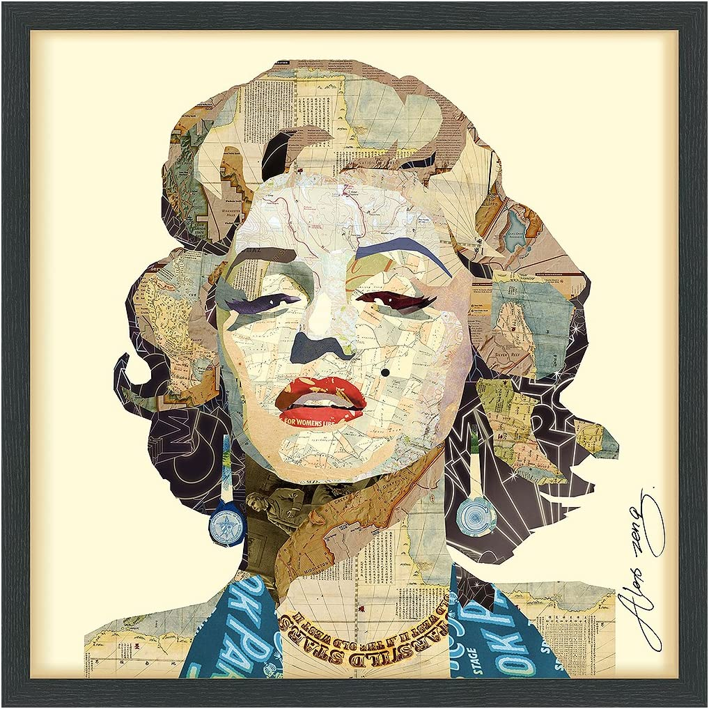 Empire Art Direct Homage to Marilyn Dimensional Collage Handmade by Alex Zeng Framed Graphic Famous Person Wall Art, 25 x 25 x 1.4 , Ready to Hang,