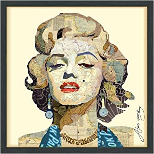 "Empire Art Direct Homage to Marilyn Dimensional Collage Handmade by Alex Zeng Framed Graphic Famous Person Wall Art, 25"" x 25"" x 1.4"", Ready to Hang"