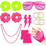 WATINC 22Pcs 80's Retro Neon Costume Outfit Accessories for Women 80s Hair Scrunchies for Hair Pink Shutter Glasses Fingerless Fishnet Gloves Flash Earrings Jelly Bracelets Necklace Party Supplies