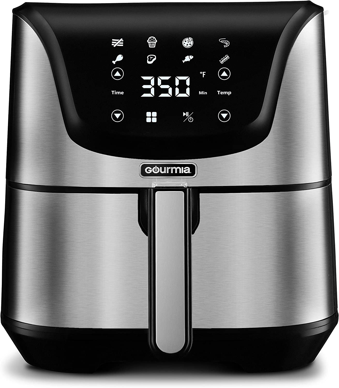 Gourmia GAF635 Digital Multi Mode Air Fryer - Oil-Free Healthy Cooking - 8 Preset Cook Modes - 6-Quart Capacity - Stainless Steel - Removable, Dishwasher-Safe Basket - Free Recipe Book Included