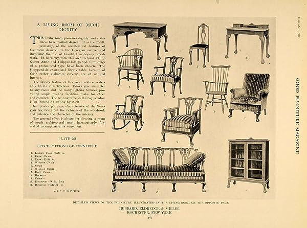 1918 Print Furniture Designs Hubbard Eldredge Miller   Original Halftone  Print