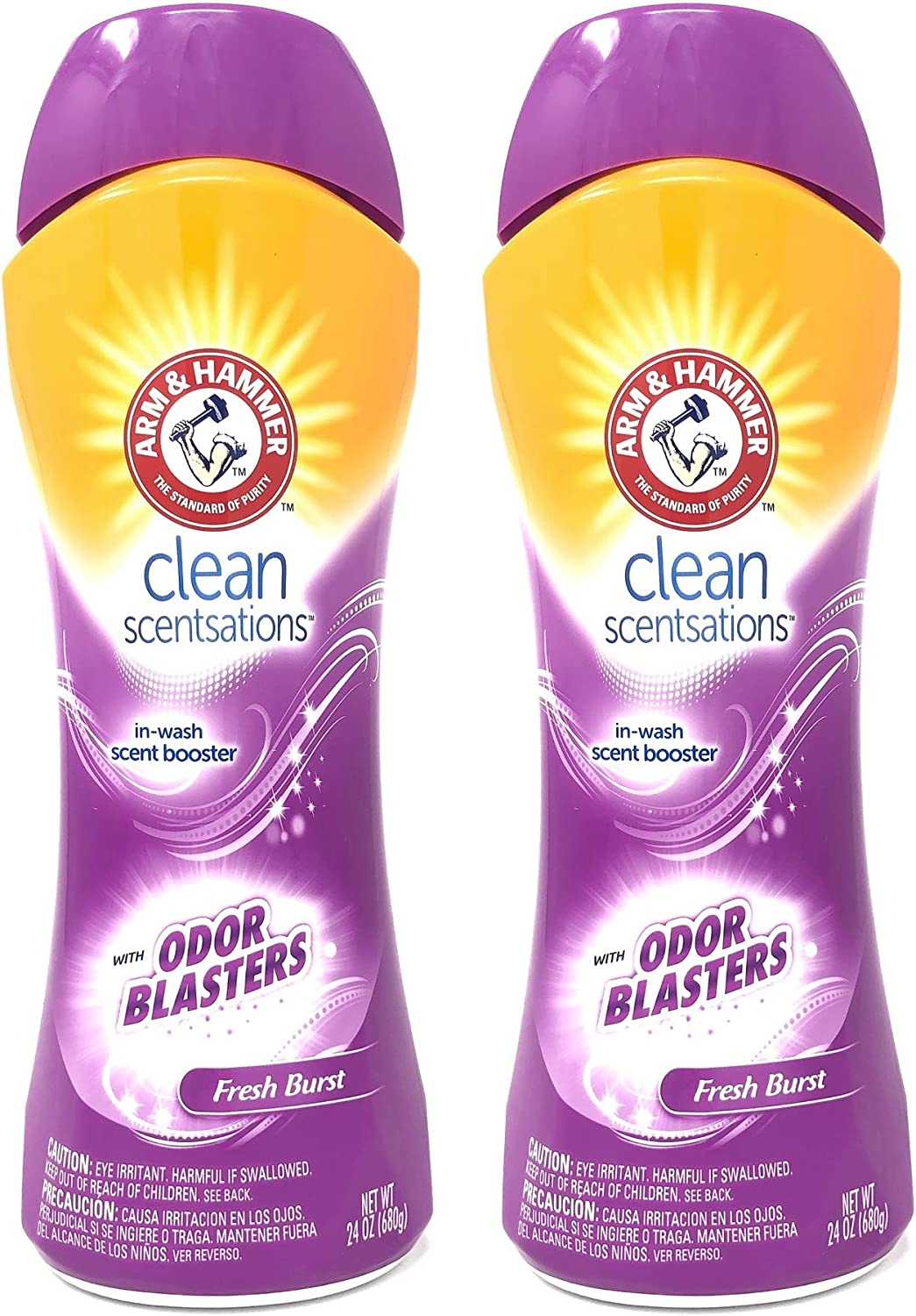 Arm & Hammer Clean Scentsations Odor Blasters in-Wash Scent Booster, Fresh Burst, 24 Ounces (Pack of 2)