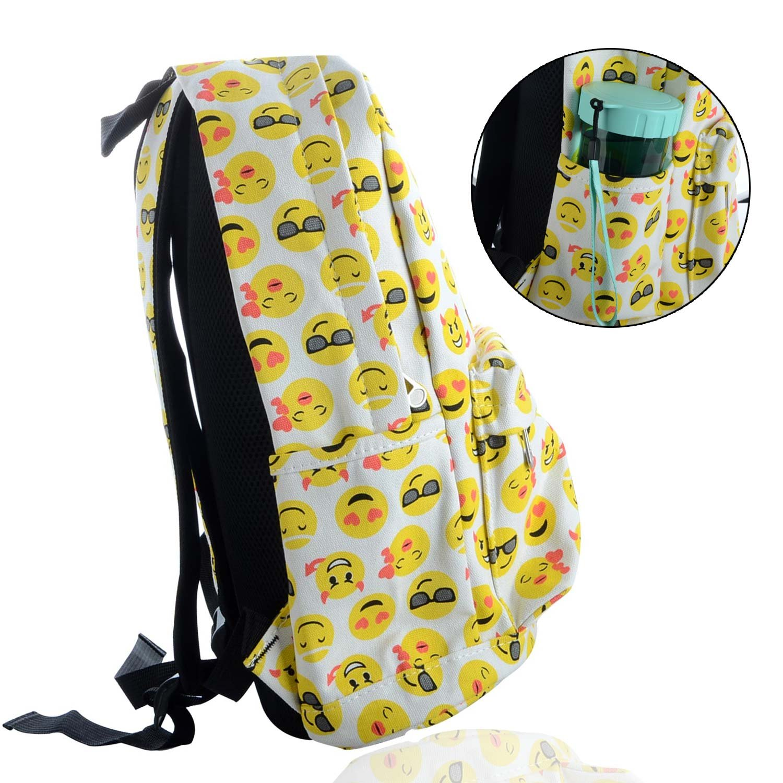 a1277a98f7 Toyfun QQ - Zaino in tela con stampa smile, zaino da viaggio, scuola, borsa  a spalla, tracolla con 4 adesivi con Emoji, per bambini studenti  ragazze/ragazzi ...