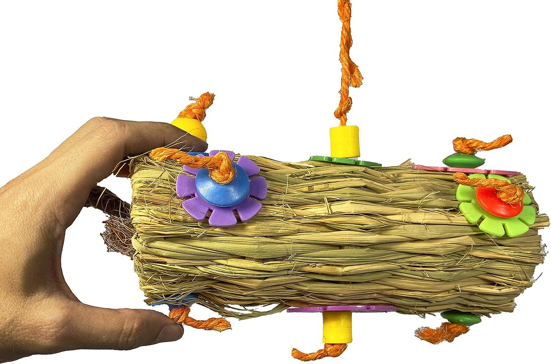Birds LOVE Coconut Fiber Burrito Parrot Toy, Foraging and Preening Fun for Medium Birds
