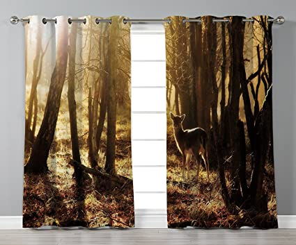 Amazon Com Stylish Window Curtains Cabin Decor Young Deer At Sunset