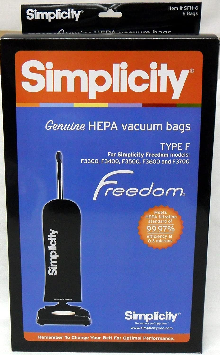 Simplicity Type F HEPA Vacuum Cleaner Bags (6 Pack) - Genuine [Kitchen]