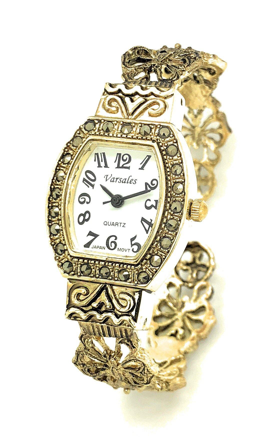Ladies Modern Antique Elegant Metal Bangle Cuff Fashion Watch Versales (Gold)