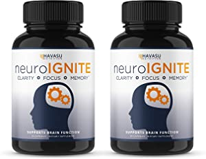 Havasu Nutrition Extra Strength Brain Supplement for Focus, Energy, Memory & Clarity - Mental Performance Nootropic with St Johns Wort - Supports Brain Function for Men & Women (60 Count)