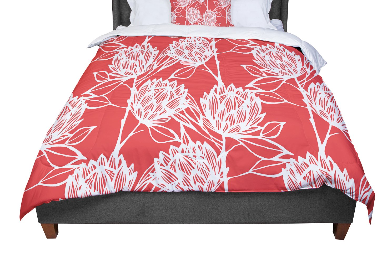 KESS InHouse Gill Eggleston 'Protea Strawberry White' Red Flowers Queen Comforter, 88' X 88'