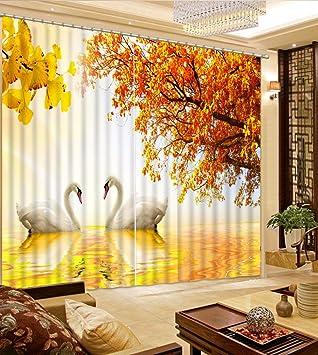 Amazon Com Wapel 3d Curtains Swan Lake Autumn Landscape Curtains