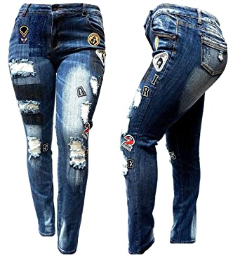 c09b117b20f130 Womens Plus Size Ripped Distressed Patches Blue Denim Jeans Patch Stretch  Pants (14-Plus