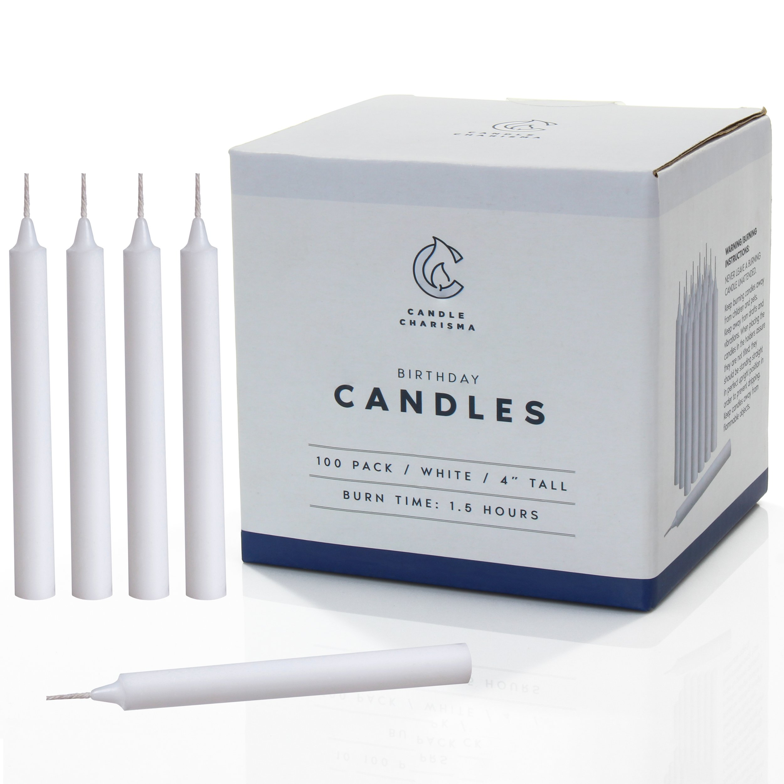 White Small Chime Candles Mini - for Candlelight Service Spells, Birthday, Holiday Gifting, Party - 4 Inch Tall - 1.5 Hour Burn Time - Bulk Set of 100