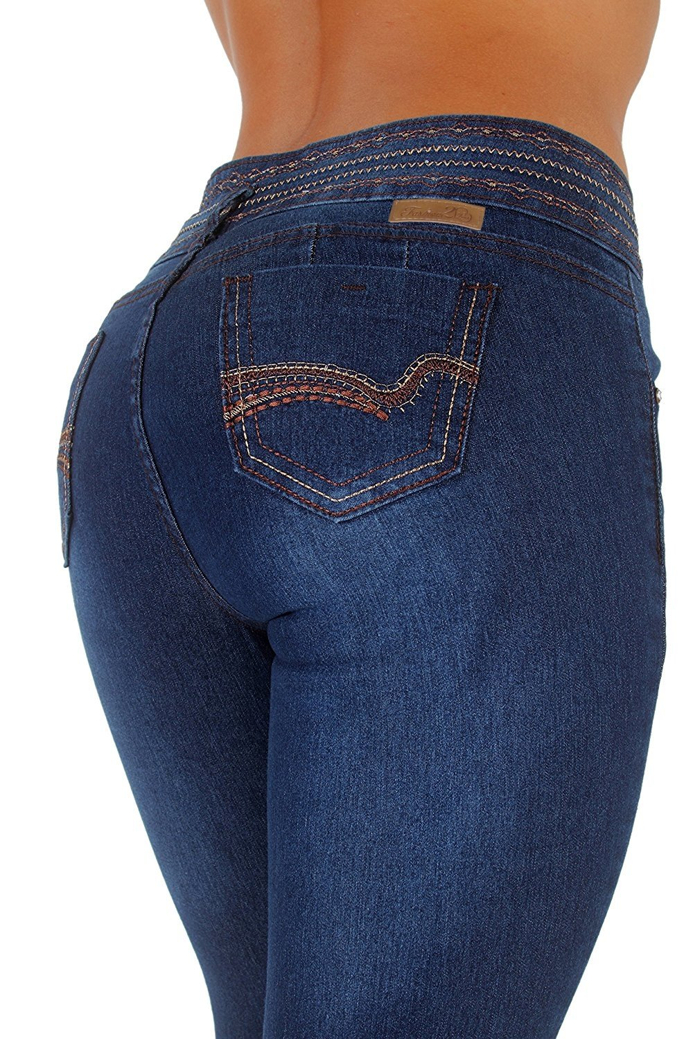 Style K117– Colombian Design, Butt Lift, Levanta Cola, Skinny Jeans in Dark Blue Size 5
