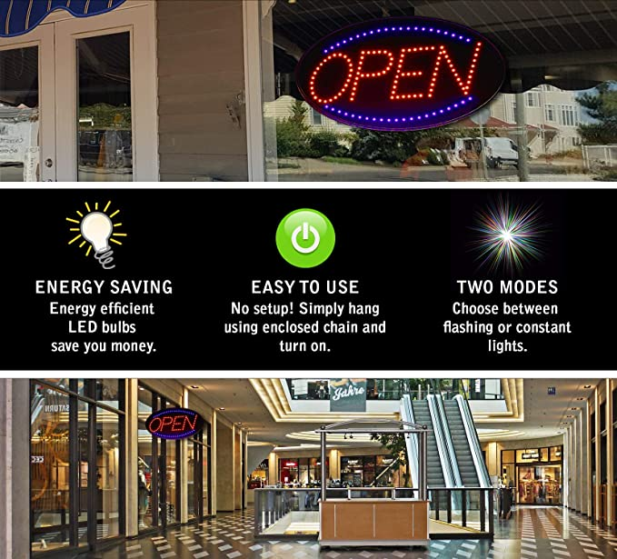 Amazon.com: Señal abierta LED neón, grande 23 x 14 pulgadas ...