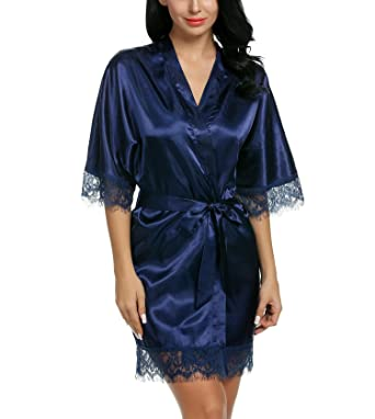 Chambre Femme Satin De Avidlove Robe Peignoir Kimono Soyeux QhdsxortCB