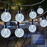 BrizLabs Lichtsnoer op zonne-energie, 22 m, 100 leds, kristallen bollen, lichtketting voor buiten, zonneluifel, balkon…