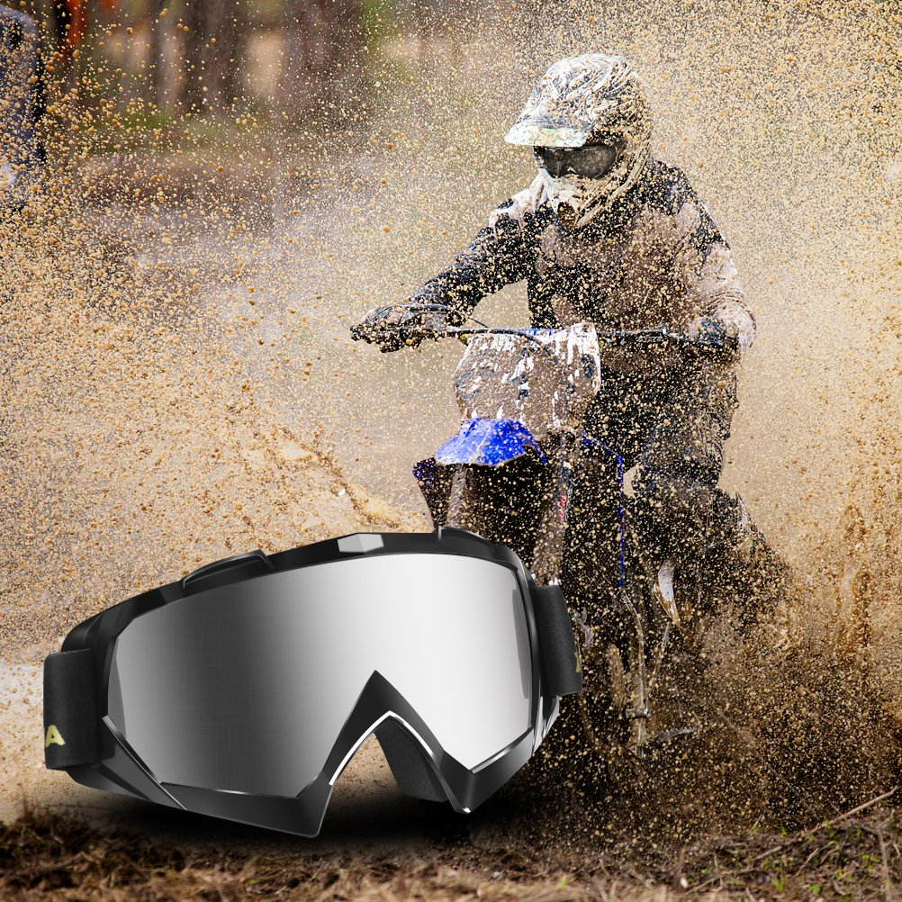 AULLY PARK Motorcycle Goggles, Dirt Bike Goggles Grip For Helmet, ATV Motocross Mx Goggles Glasses with 3 Lens Kit Fit for Men Women Youth Kids by AULLY PARK (Image #7)