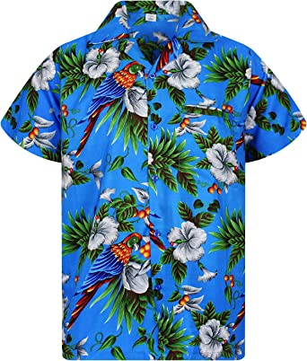 Funky Camisa Hawaiana Señores | XS-12XL | Manga Corta Bolsillo Delantero | Impresión de Hawaii | Cherry Parrot: Amazon.es: Ropa y accesorios