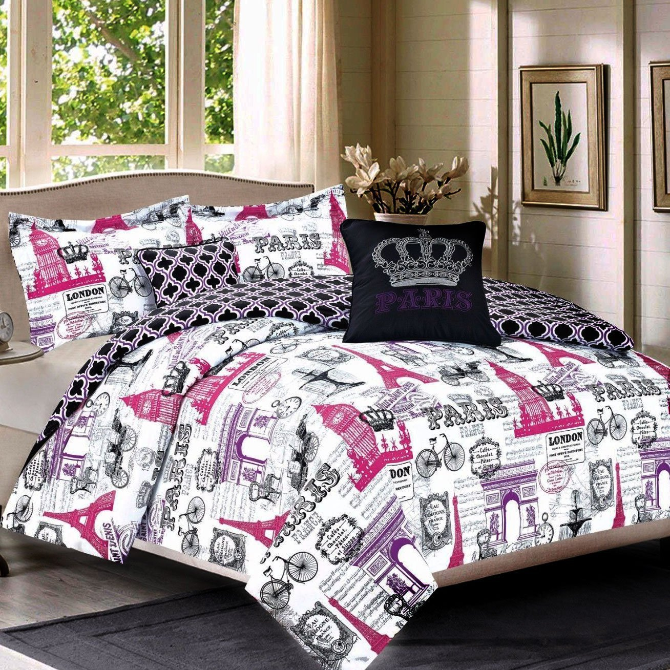 Bedding King 5 Piece Girls Comforter Bed Set, Paris Eiffel Tower London, Pink and Purple