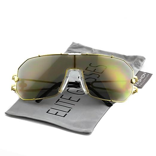 Elite Mens Womens Oversized Flat Top Shield Aviator Mirrored Lens Sunglasses  (Gold Frame   Gold 16be25907d