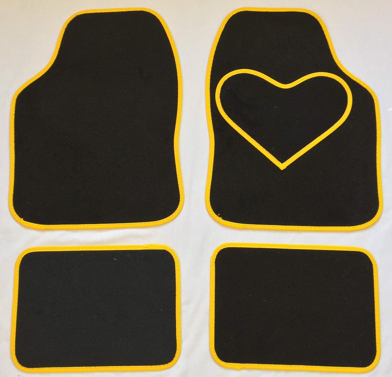 CARSTYLING UK ORIGINAL UNIVERSAL BLACK MATS WITH YELLOW HEART HEEL PAD