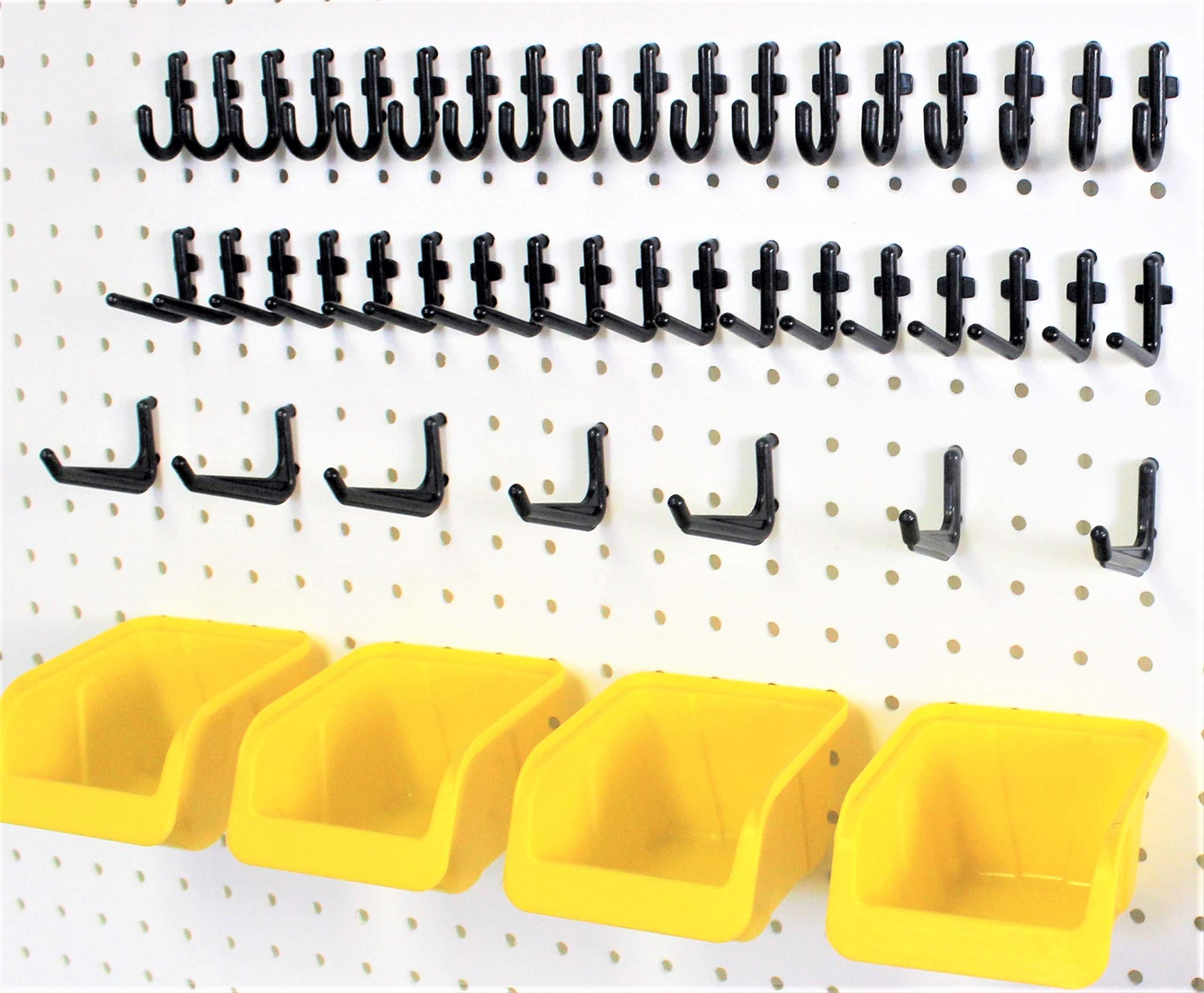 56 Pegboard Storage Organization Kit Yellow Bins and Peg Hooks fits 1/4'' Hole Pegboard