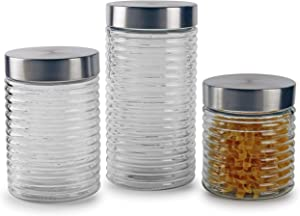 Circleware Ring-a-Ling Glass Canisters with Stainless Hermetic Airtight Top Lids, 3-Piece Set, Kitchen Glassware Food Preserving Coffee, Sugar, Tea, Cereal Containers, 28 oz, 42 oz, 57 oz, Hoops