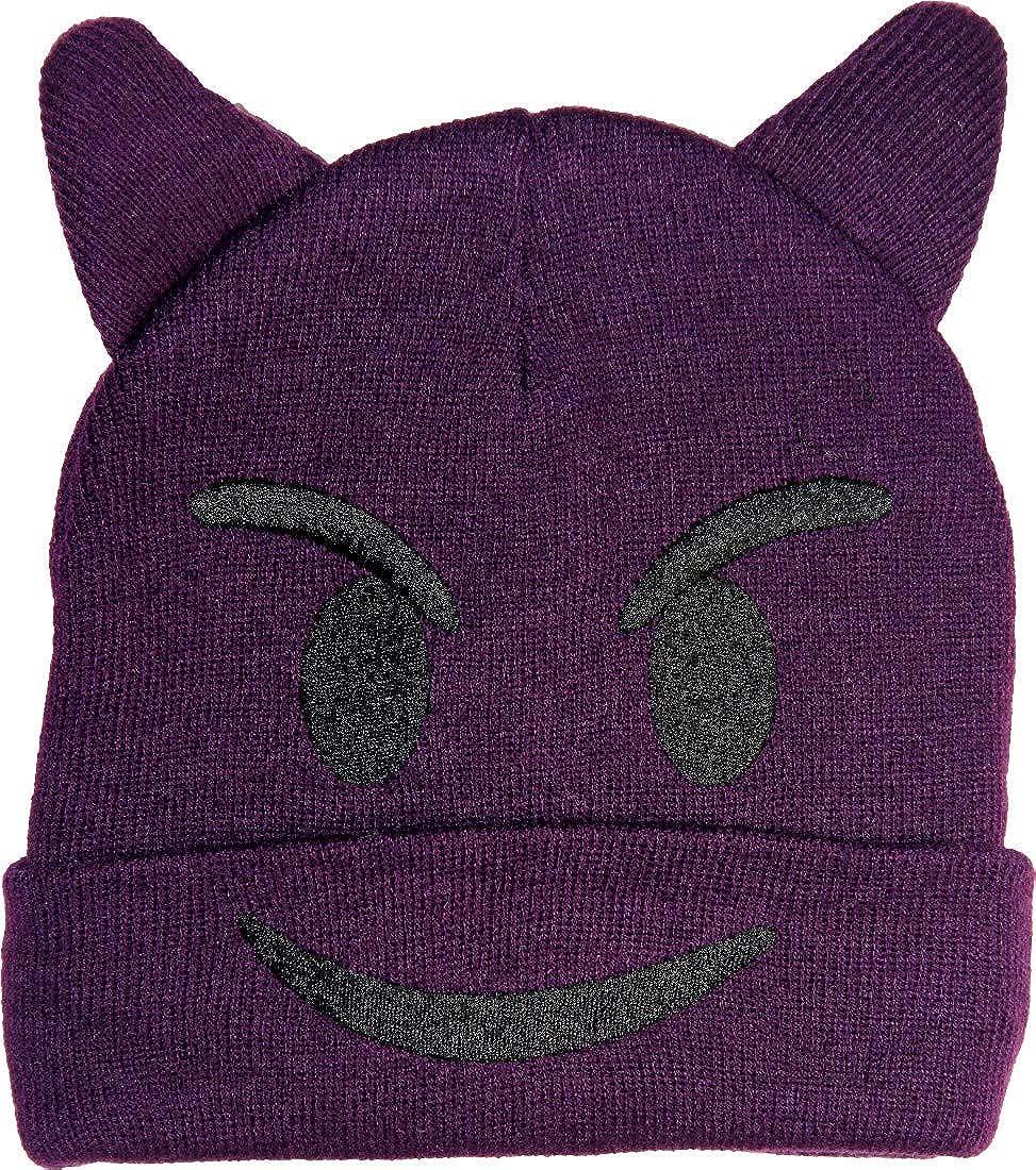 Yoga Boho Pop Culture Hippie Gypsy Bohemian Winter Unisex Patchwork Emoji Funny Faces Kids Stretchable Knit Cap 3937 Purple