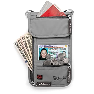 Travel Neck Wallet Passport Holder w/RFID Blocking - Premium Traveling Pouch