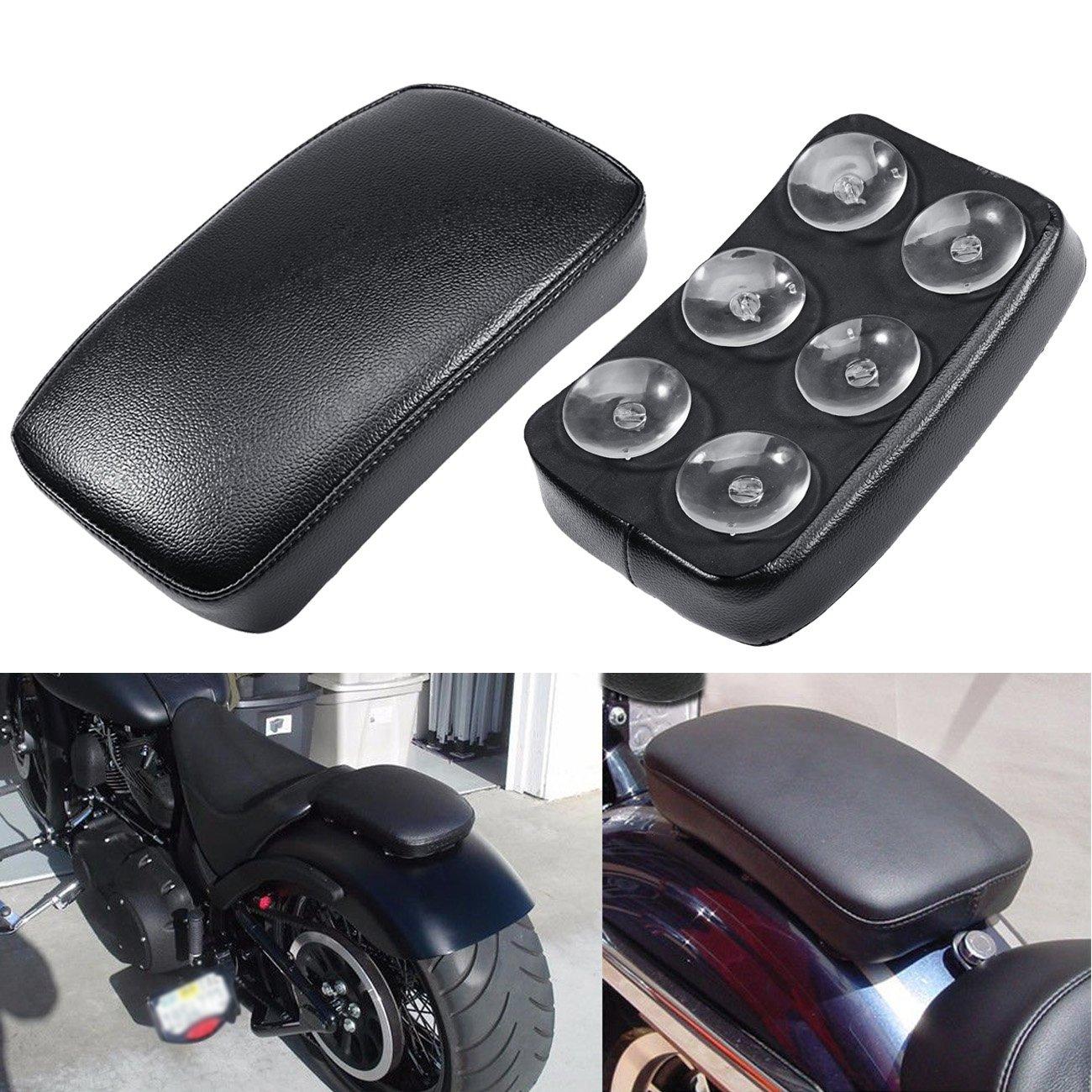 INNOGLOW Motorcycle Seat Rectangular Passenger Pad Seat 6 Suction Cup for Harley Motorcycle Cruiser Chopper Custom
