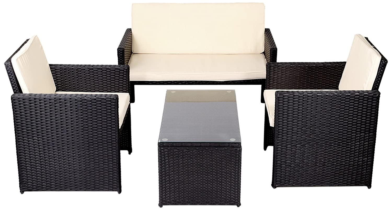 Divani Per Esterni In Plastica : Mobili da giardino set rattan completo 2 poltroncine divano tavolino