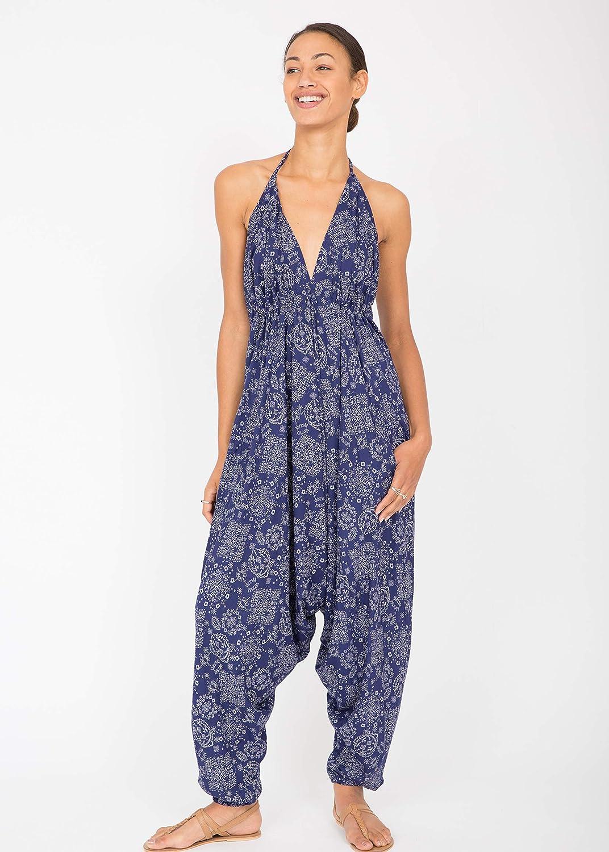 7fba58c002de Amazon.com  likemary Harem Jumpsuit Hareem Halter Romper for Women Blue  Florals Print  Clothing