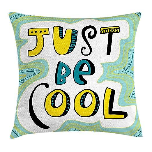 shizh Funda de cojín Almohada Letras de Just Be Cool Doodled ...