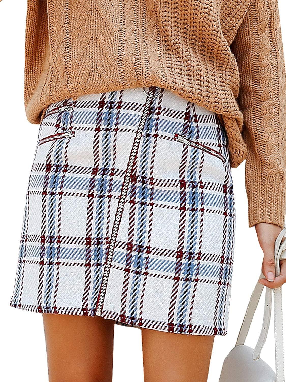 Simplee Women's Elegant Plaid Tweed High Waist Zipper Front A Line Mini Skirt S18SK0034