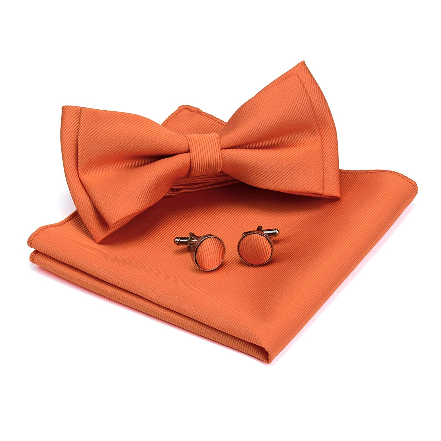 GUSLESON Mens Solid Color Two Layer Pre-tied Bow Tie and Pocket Square Cufflink Set with Gift Box