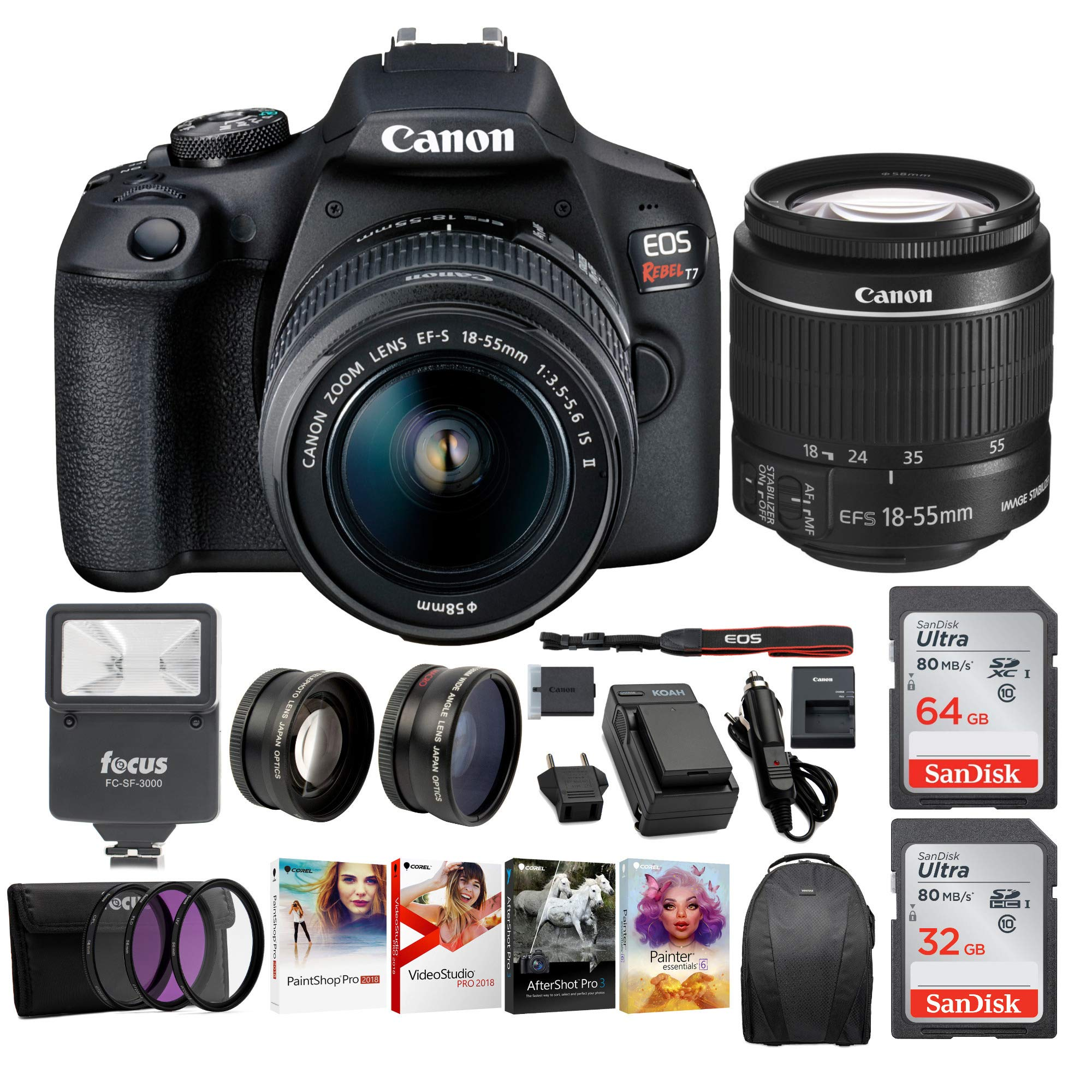 Canon EOS Rebel T7 Digital Camera: 24 Megapixel 1080p HD Video DSLR Bundle W/Wide Angle 18-55 MM Lens 64 & 32GB SD Cards + Flash + Spare Battery - Professional Vlogging Sports and Action Cameras by Canon