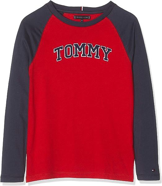 Tommy Hilfiger Tommy Applique Logo L/S tee Camisa Manga Larga para Niños: Amazon.es: Ropa y accesorios